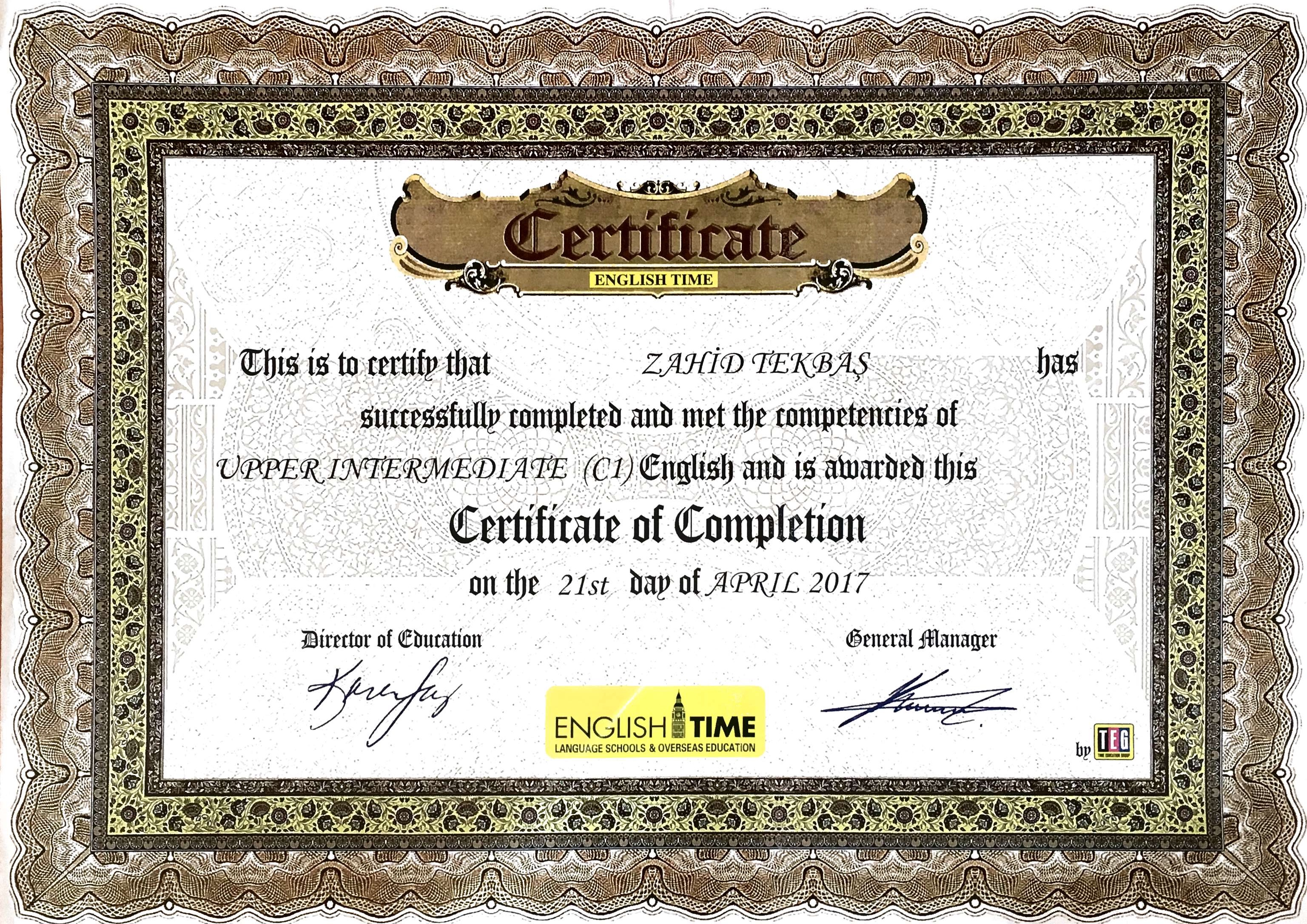 English Certificate by English Time