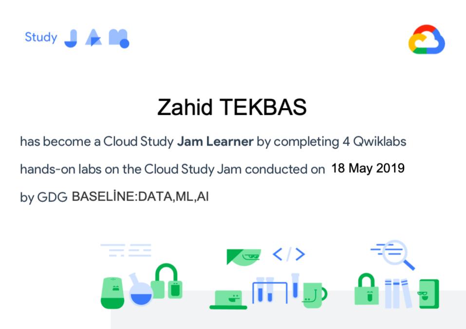 Google Cloud Study Jam Certificate