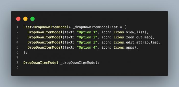 Flutter code snippet, dropdown menu